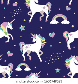Seamless pattern with unicorns, stars, hearts, rainbows and clouds. Vector illustration.