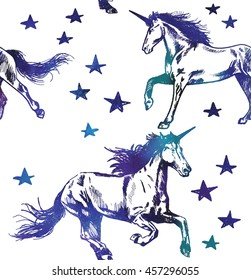 Seamless pattern with unicorns . Vector freehand drawing in vintage style . Cute kids background with horses .