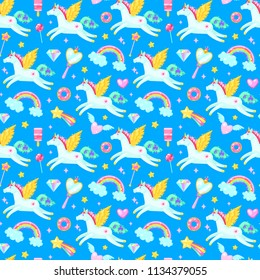 Seamless pattern with unicorns,hearts,candies, clouds, rainbows and other elements on blue background.