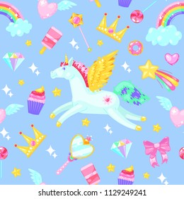 Seamless pattern with unicorns,hearts,dresses,candies, clouds, rainbows and other elements on blue background.
