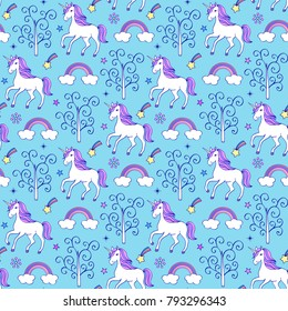 Seamless pattern with unicorns,trees and other elements on blue background.Vector illustration