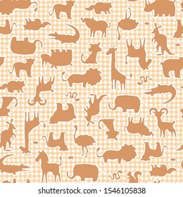 Seamless pattern with unique and cute animals,
