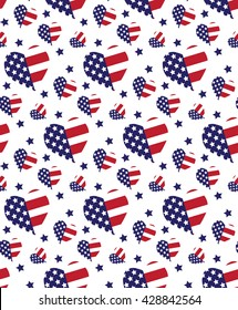 seamless pattern United States vector flag in heart