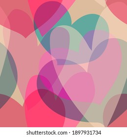 Seamless pattern for valentine s day. Overlapping heart shapes in pink, blue, beige colors. Template for wallpaper, leaflets, wrapping paper
