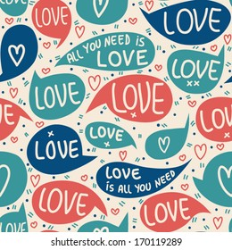 Seamless pattern of Valentines day with bubbles, hearts  and letters. Valentines hearts. Kids elements for scrap booking. Childish background. Hand drawn vector illustration.