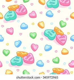 Seamless pattern for Valentine's Day with candies different color in the shape of hearts on a light background. Background in pastel colors. Vector clip-art illustration.