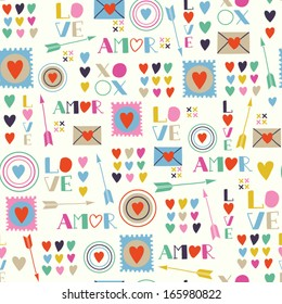 Seamless pattern of Valentines day with colorful hearts and letters in retro style. Valentines hearts. Kids elements for scrapbooking. Childish background. Hand drawn vector illustration.
