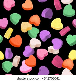 Seamless pattern for Valentine's Day with colorful conversation hearts candy on a dark background. Background in pastel colors. Decorative vector love elements.