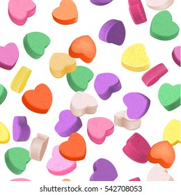 Seamless pattern for Valentine's Day with colorful conversation hearts candy on a white background. Background in pastel colors. Decorative vector love elements.