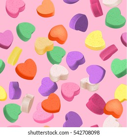 Seamless pattern for Valentine's Day with colorful conversation hearts candy on a pink background. Background in pastel colors. Decorative vector love elements.