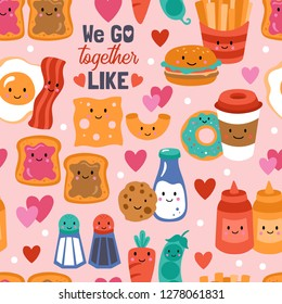 Seamless pattern for Valentine's day with cute funny food. Childish background for fabric, wrapping paper, textile, wallpaper and apparel. Vector Illustration