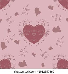 Motif harmonieux pour la Saint-Valentin, déclaration d'amour avec peu de coeurs et texte en langue anglaise, je t'aime. Couleur rose pâle. Image vectorielle.