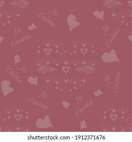 Motif harmonieux pour la Saint Valentin, déclaration d'amour avec peu de coeurs et texte en langue française, je vous aime. Couleur framboise. Image vectorielle.