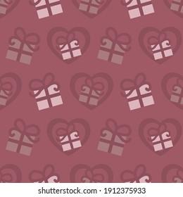 Motif harmonieux pour la Saint-Valentin avec des cadeaux et des coeurs. Couleur framboise. Image vectorielle.