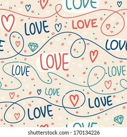 Seamless pattern of Valentines day with lines, hearts and letters. Valentines hearts. Kids elements for scrap booking. Childish background. Hand drawn vector illustration.