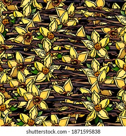 Seamless pattern of vanilla, flower, sticks, herb, aroma, flavour, cartoon style, flowers, bouquet, foliage, wallpaper, gift paper, print, fabric, for clothes, greeting, congratulations, vanilla, cute