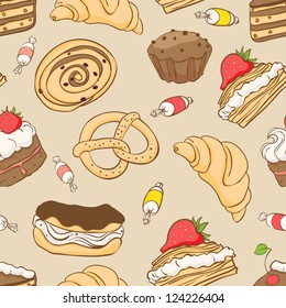 Seamless pattern with a variety of delicious desserts. vector illustration