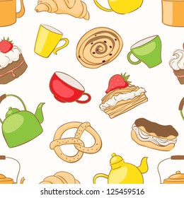 Seamless pattern with a variety of delicious desserts and tea accessories. vector illustration.