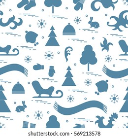 Seamless pattern with variety winter elements:  sleigh, tree, scarf, hat, mittens, socks and other. Design for banner, flyer, poster or print.
