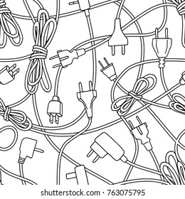 Seamless pattern of various electric plugs and power cords