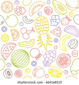 seamless pattern of various fruits, watermelon, pine apple, strawberry, berries, outline design suitable for banner or backdrop and wrapping paper