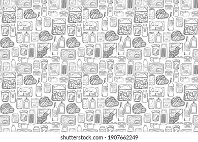 seamless pattern of various grocery items.package, box, can, pack, ingredient, fresh, food, vintage doodle line art hand draw style