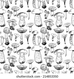 Seamless pattern with various hand drawn mushrooms in black and white