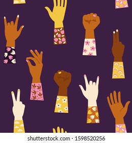 Seamless pattern with various hands gestures.