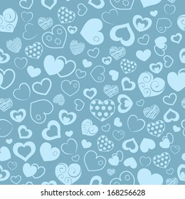 Seamless pattern of various hearts, in turquoise color