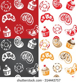 Seamless pattern with various pastries. One color vector design. Can be used in Screen printing, flexography or as web page background, wrapping, textile and scrapbook.