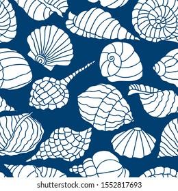 Seamless pattern of various seashells silhouettes