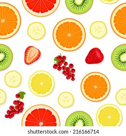 Seamless pattern with various sliced multicolored fruits and berries