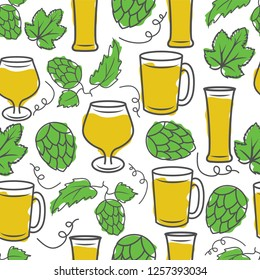Seamless pattern with various types of beer glasses surrounded by hops and leaves.