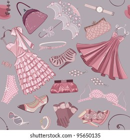 Seamless pattern with various  women's clothing, shoes and accessories in in pink color
