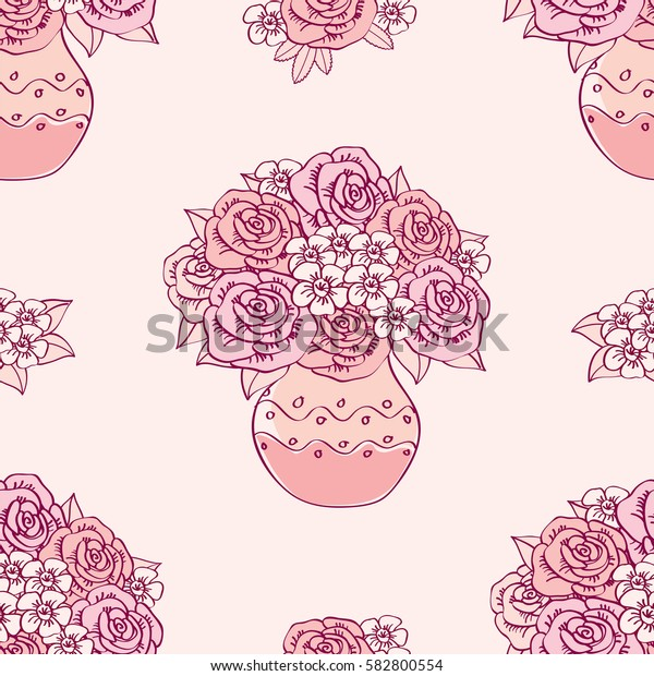 Seamless pattern with vases and flowers  for textile, wallpapers, scrapbook. Vector illustration.