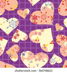 Seamless pattern. Vector abstract background. Colored lines, hearts and flowers on squared paper background