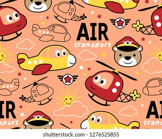 seamless pattern vector of air transportation cartoon with funny pilot