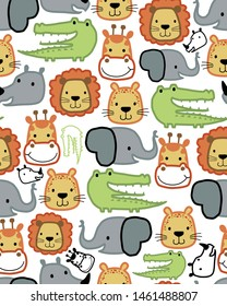 seamless pattern vector of animals head