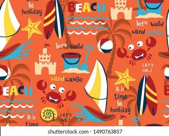 seamless pattern vector of beach holiday equipment with beach animals cartoon. Beach holiday theme set cartoon. windsurf, beach animals, surfboard, sand castle, bucket and shovel, ball,.
