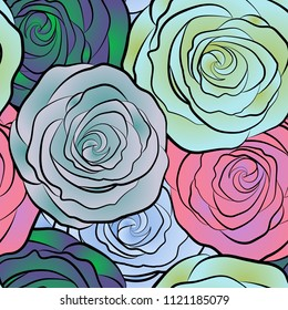 Seamless pattern with vector blue, pink and green rose flowers.