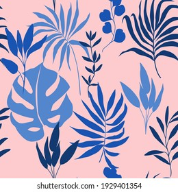 Seamless pattern with vector blue tropical leaves and palms, monstera on a pink background. Texture with exotic plants for textiles, fabrics, wallpapers, packaging paper.