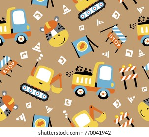 seamless pattern with vector cartoon of construction equipment with a funny worker