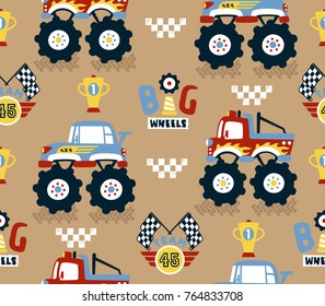 seamless pattern with vector cartoon of monster truck race