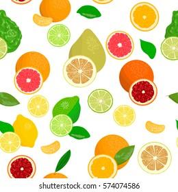 seamless pattern vector collection of realistic citrus fruits and slices. Bergamot, lemon, grapefruit, lime, mandarin, pomelo, orange, blood orange. for cosmetics, prints, textile, banners, decoration