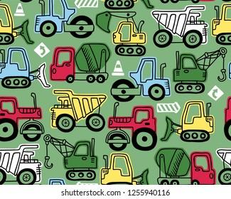 Seamless pattern vector of construction vehicles cartoon