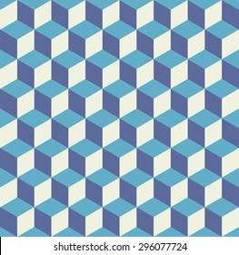 Seamless pattern vector cube art, abstract illustration. Web and mobile interface template. Corporate website design. Hipster style. Dark blue indigo grey soft colors