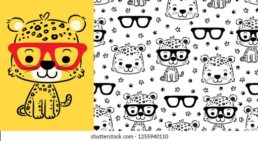 Seamless pattern vector of cute cat with eyeglasses