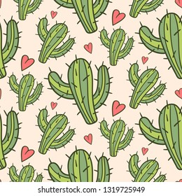 Seamless pattern vector design illustration with the cutest cactuses. Love cactus theme. Wallpaper, background design.