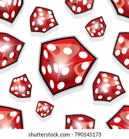 Seamless pattern of vector dice illustrations isolated on white background. Can be used as wallpaper, packaging, wrapping or any kind of decoration or print work.