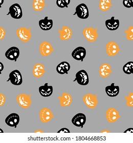 Seamless pattern vector digital paper for scrapbook pumpkin on Halloween pumpkin